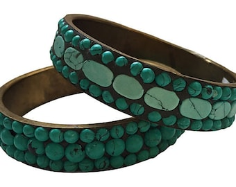 Turquoise Howlite Brass Bangles, Pair