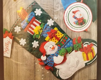 Bucilla Snowman with Presents, Felted Stocking Kit, Special Edition, Bonus Ornament, 86864, NIP, 18 inches, 45 cm