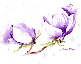 Watercolor Art Portrait Print Magnolias