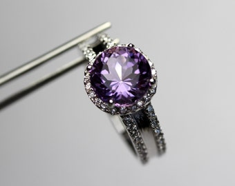 Impeccible Genuine Amethyst in a Halo Accented Sterling Silver Ring