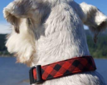 Buffalo Plaid Collar, Boy Dog Collar, Red Dog Collar, Puppy Collar, Male Dog Collar, Tartan Collar, Buffalo Check,  Christmas Dog Collar