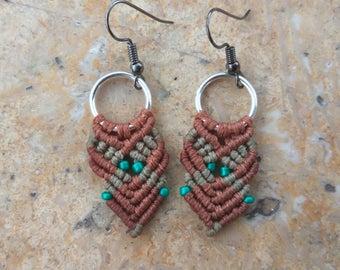 Macrame Boho Brown Earrings with Green Elements