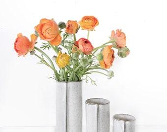 In stock ready to ship trio of white Ceramic vase home docor gift Handmade ceramic bud vase in rustic glaze