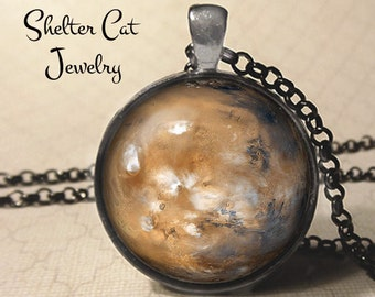 "Mars Pendant - 1-1/4"" Round Necklace or Key Ring - Wearable Photo Art Jewelry - Universe, Galaxy, Space, Science, Planet, Outer Space Gift"