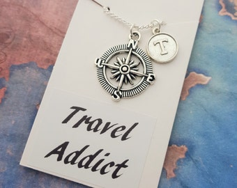 Travel Necklace, Compass Necklace, Personalised Compass, Traveller Gift, Journey Keepsake, Adventure Gift, Wanderlust Jewelry, Safe Travels