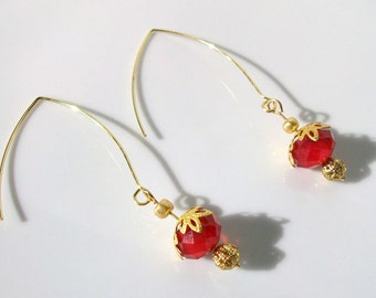 Red and gold ear wire earrings