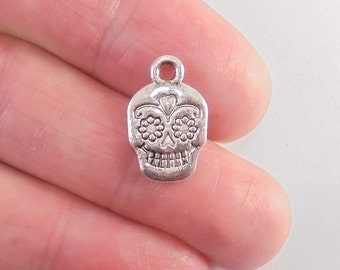 9 Sugar Skull charms, 16x11mm, antique silver finish