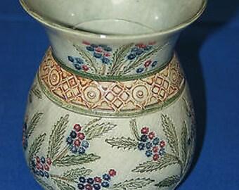 Vintage Unique Ware Studio Art Hand Painted Pottery Vase