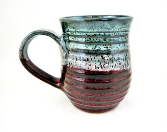 20 oz Purple mug, large handmade stoneware mug, Ox blood and teal green ceramic mug, gift for her - In stock