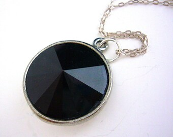 Black Swarovski Bridesmaid Necklace Rivoli Crystal Drop Pendant Sterling Silver Jewelry Gift for Her Simple Cute Jewellery Jet Necklace