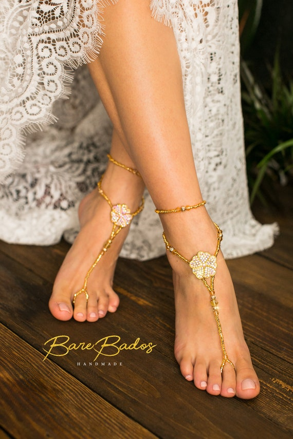 Barefoot Bride wedding wedding sandals crystal barefoot jewelry wedding rhinestone shoes Beach Tropical Gold footless wedding sandals RfnF45wxWq