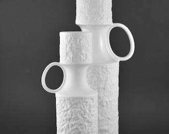 Kerafina German Bisque Porcelain Vase, Royal Porzellan Bavaria KPM Germany, Handmade Vintage Vase, OP-Art, Matt Relief Vase with Handle