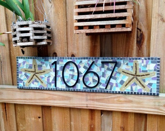 Outdoor House Number Sign with Starfish // Purple Aqua Gray White // Beach House Address Plaque