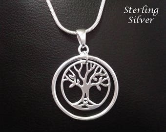 Stunning Tree of Life Necklace with a 925 Sterling Silver Tree of Life Pendant inside an Outer Ring | Tree of Life Jewelry,  Necklace 121