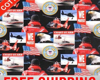 """Cotton Fabric Coast Guard Rescue Helicopter Bald Eagle 45"""" Wide Free Shipping Style 1224"""