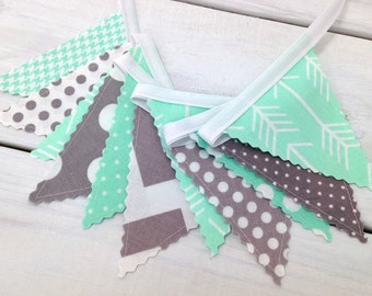 Woodland Banner Arrow Bunting Tribal Garland Baby Nursery Decor Baby Shower Fabric Bunting Nursery Bunting Mint Gray