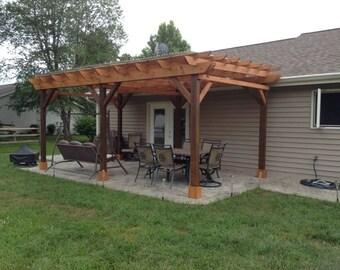 Covered Pergola Plans 12x18u0027 Outside Patio Wood Design Covered Deck DIY