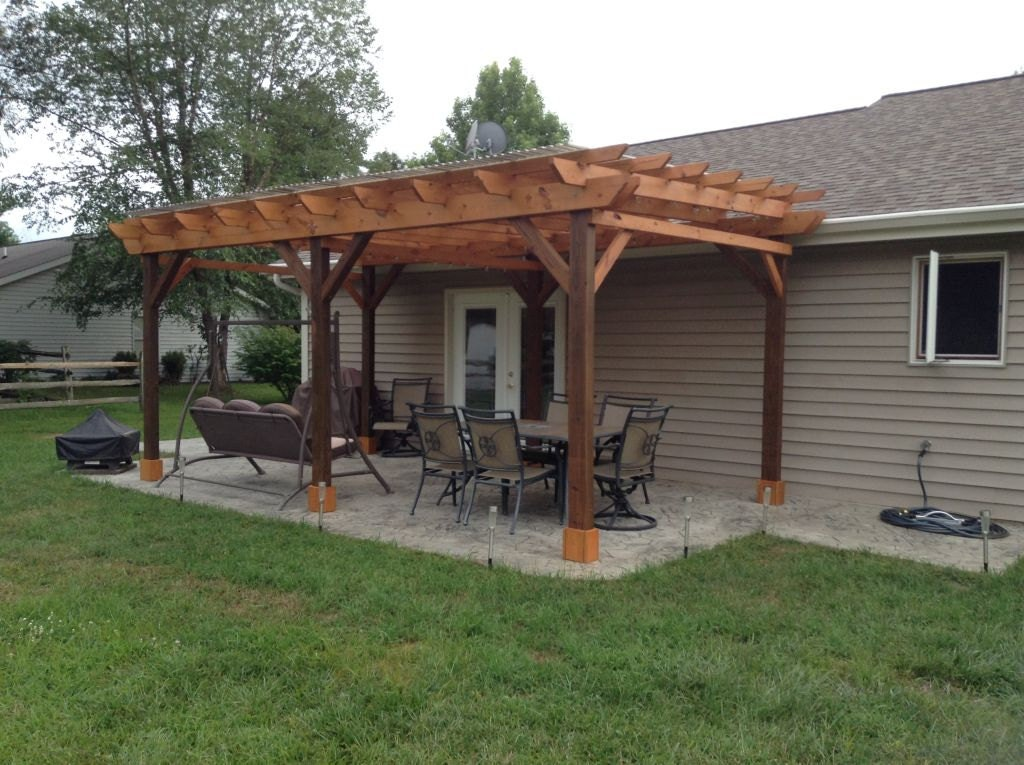Covered pergola plans 12x20 39 build diy outside patio wood for Patio cover construction plans