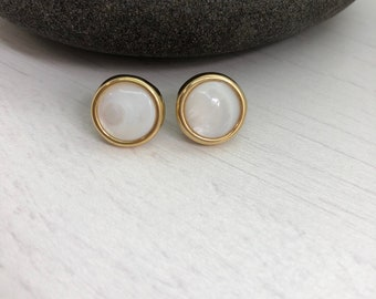 Mother of Pearl Earrings - Pearl Stud Earrings - Round Mother of Pearl Studs - June Birthstone Earrings - Pearl Post Earrings - June gift