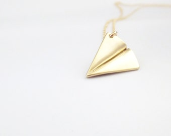 Airplane Necklace - Gold Paper Plane