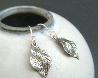 sterling silver leaf earrings small dangles tiny leaves rustic oxidized boho bohemian botanical nature. simple gift for her leverback hook