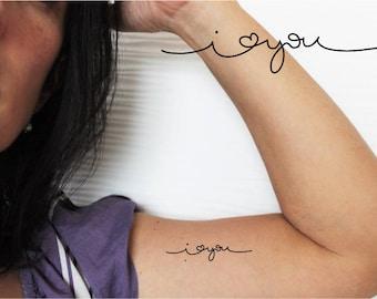 4 calligraphying word temporary tattoos / word temporary tattoos / love tattoo /sentence tattoo / love heart tattoo / i love you tattoo