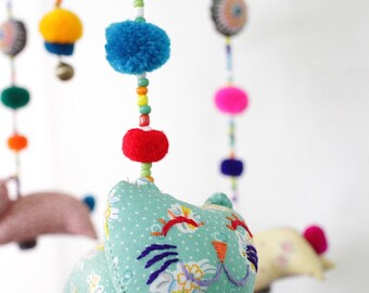 Cat Crib Hanging, Baby Cat Mobile Hanging, Baby Cat Hanging, Cat Mobile Hanging, Animal Crib Hanging, Baby Shower Gift, Baby Mobile, Crib