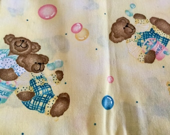 Bears Print Cotton Fabric, Yellow Background with blue, white, green Print, 1 yard by 45 inches wide