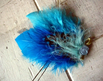 Blue Aqua feather fascinator hair clip - Dainty