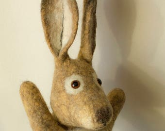 Bunny, Easter Bunny, hand puppet, wet felted, animal hand puppet. MADE TO ORDER