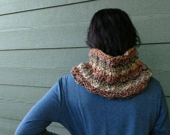 Scarf, Chunky green brown grey neck warmer, hand knitted multicolor cowl, fall Winter Accessories