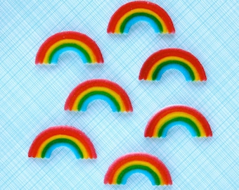 Rainbow Edible Sugar Decorations for Cupcake and Cake Decorating - Rainbow Cupcake Toppers - Rainbow Birthday Party (12)