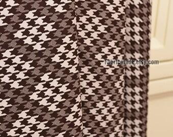 Dark Brown Houndstooth Cotton Fabric, Brown White Hound Stooth Cotton - 1/2 Yard