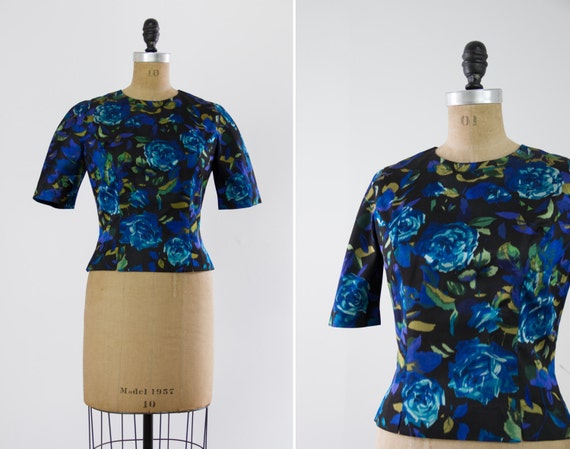 vintage 1950s black silk blouse   50s Lord and Taylor floral rose blouse