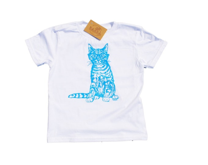 Boys T Shirts - Blue Cat with Glasses Shirt - Animal T Shirt - Kids Clothes - Cat Print Clothes - Blue T Shirt - Boys Birthday Gift
