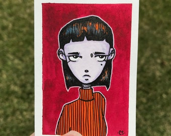 Original ACEO Card - Watercolor and Gouache Tiny Painting Illustration
