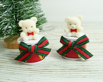 Flocked Christmas Bears, Vintage Flocked Ornaments, White Flocked Teddy Bears on Drums - Red Green Bows - Made in Taiwan circa 1980s - 2 Pcs