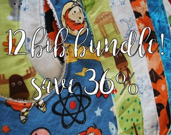 BUNDLE 12 cotton terry bibs: one year of bibs, bib a month, 12 months of baby bibs perfect gift christmas baby shower discount price