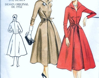 Vogue 2401 Vintage 1950's Misses Fitted Flared Wrap Skirt Dress Pattern Size 6, 8 and 10