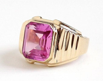 Sale - Vintage Created Pink Sapphire Ring -  Antique 1950s Size 8 1/4 10k Rosy Yellow Gold - Women's Emerald Cut Pink Gem Fine Mens Jewelry