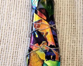 Handmade jewelry handmade pendant dichroic multicolored pendant wire wrapped