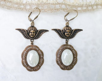 Lovely Steampunk Vintage Style Dangle angels Earrings with white pearly cabochons by Victorian Jewelry Box