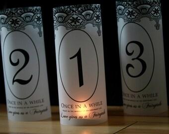 Fairytale Wedding luminaries , Lace Fairytale Table Numbers, Fairytale Luminaries, Fairytale table decor, Fairytale wedding decor- Set of 25