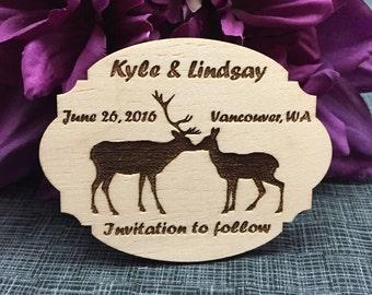Save The Date Kissing Buck & Doe Deer Magnet - Custom Baltic Birch Wood Magnet - Laser Engraved