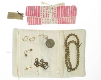 Jewelry Roll, Jewelry Travel Case, Jewelry Organizer, Travel Jewelry Bag, pink, blue, grey gift for her