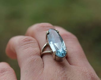 Ring Silver 925 and blue spinel