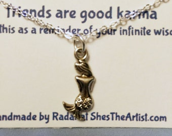 Silver Mermaid Necklace Silver Karma Wisdom Jewelry With Quote -friends are good karma- 925 Silver Necklace Mermaid Personalized Gifts