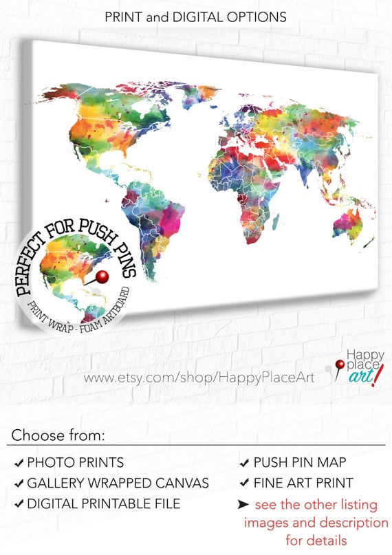 Watercolor world map world map wall art bright nursery wall gumiabroncs Choice Image