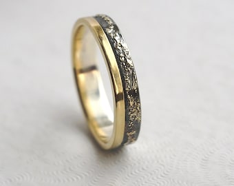 Gold Chaos with Gold Edge - Sterling Silver and 18k Gold Wedding Band