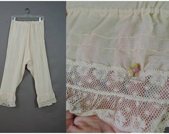 Vintage Silk Bloomers Edwardian 1900s, 27 to 32 inch waist, Antique Panties